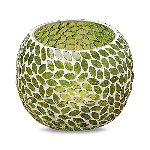 WHW Whole House Worlds Naturally Modern Green Leaf Mosaic Candle Holder Globe for Tealights and Votives, Glass, 6 Inch Diameter x 4 3/4 Tall