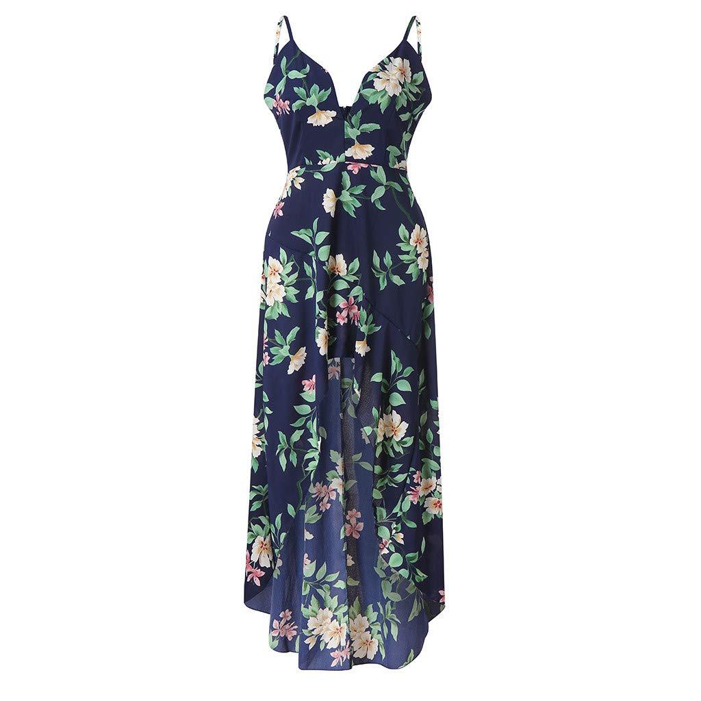 e0cc67d2da Womens Holiday Plunge V Neck Wrap Dress Ladies Bohemian Spaghetti Strap  Sleeveless Asymmetric Maxi Long Summer Floral Print Beach Dresses   Amazon.co.uk  ...
