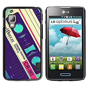 Paccase / SLIM PC / Aliminium Casa Carcasa Funda Case Cover para - Cassette Old Vintage Retro Music Tape - LG Optimus L5 II Dual E455 E460