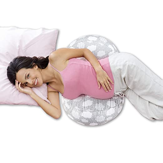 Windsleeping Cojin Lactancia Bebe & Almohada Embarazo Dormir con 100% Látex Natural Portátil,Ajustable Desmontable y Lavable Almohada