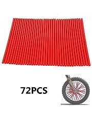 72 Piezas Rueda de Motocicleta roja Spoke Skins Llantas Cubiertas Wraps Abrigos Protector para 19