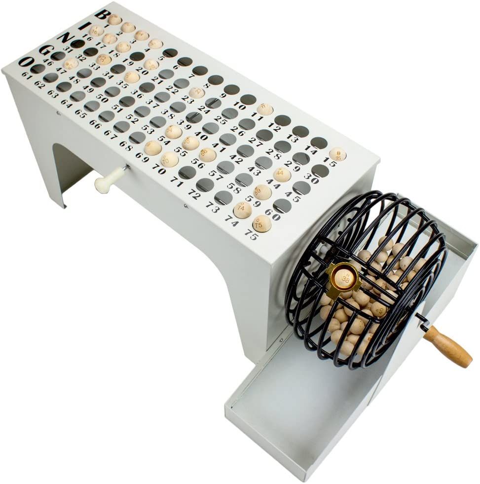 Royal Bingo Supplies EZ-Reset Professional Steel Tabletop Bingo with 75 Carved Wooden Balls, Cage, and Masterboard