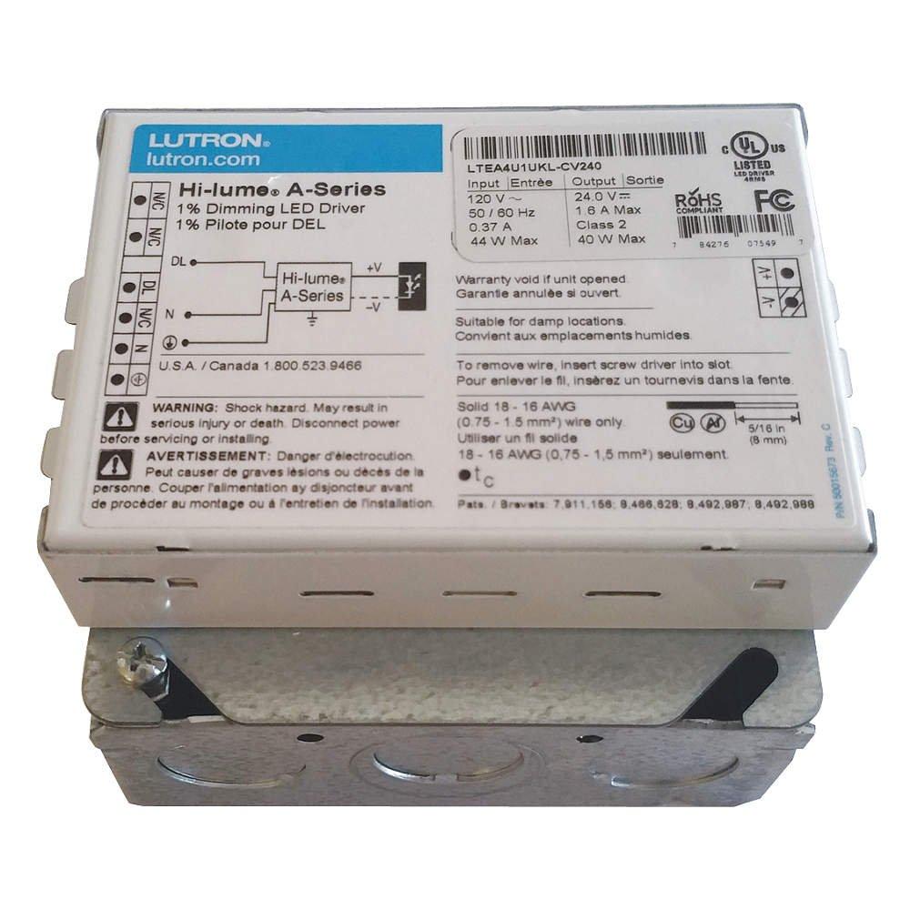 Lutron - LTEA4U1UKL-CV240 - LED Driver, 5 to 40W, 24VDC, 120VAC, 380 mA