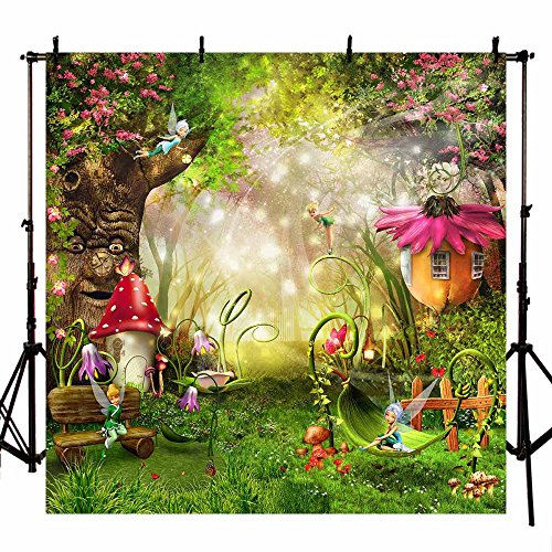 MEHOFOTO Photo Studio Booth Background Fairy Tale Enchanted Forest Theme Birthday Party Decoration Banner Backdrops for Photography -