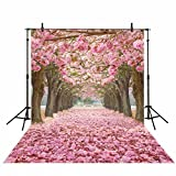 Funnytree 5x7ft Polyester Sakura Rose Blossom Flower Photography Backdrop Portrait Photo Petal Outdoor Tree Street Customized Background Studio Props