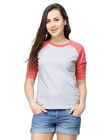 Campus Sutra Women's Cotton Round Neck Quarter Sleeve T-Shirt Women's T-Shirts at amazon