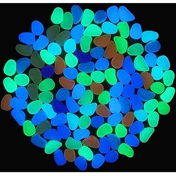 100 Piedras Brillantes para el hogar, pecera, decoración al Aire Libre, jardín, Brillan en la Oscuridad Multicolor Multicolor Talla única: Amazon.es: ...