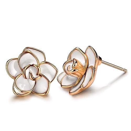 1b8db7989 AllenCOCO 18K Gold Plated Black Rose Flower Stud Earrings for Women (Large  White)