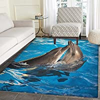 Dolphin Print Area rug Aqua Show Pair of Valentines Dolphins Dancing in Pool Animal Tenderness Love Indoor/Outdoor Area Rug 5x6 Blue Dark Taupe