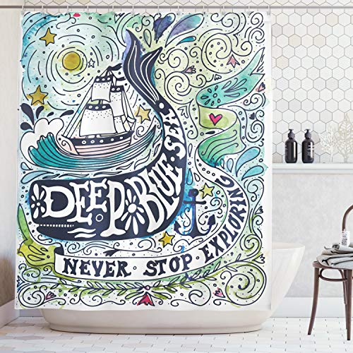 Ambesonne Whale Decor Shower Curtain, Cute Whale on Wavy Ocean Design Swimming to an Island with Palm Trees, Fabric Bathroom Decor Set with Hooks, 70 Inches, Blue Pink -