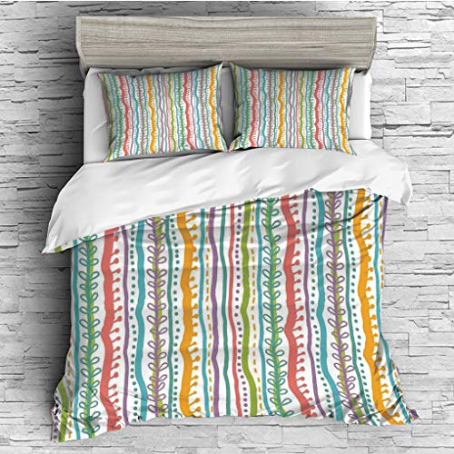 ver 2 Pillow Shams)/All Seasons/Home Comforter Bedding Sets Duvet Cover Sets for Adult Kids/Double/Striped,Vertical Abstract Featured Swirl Lines Curved Stylish Sketchy Bands and D ()