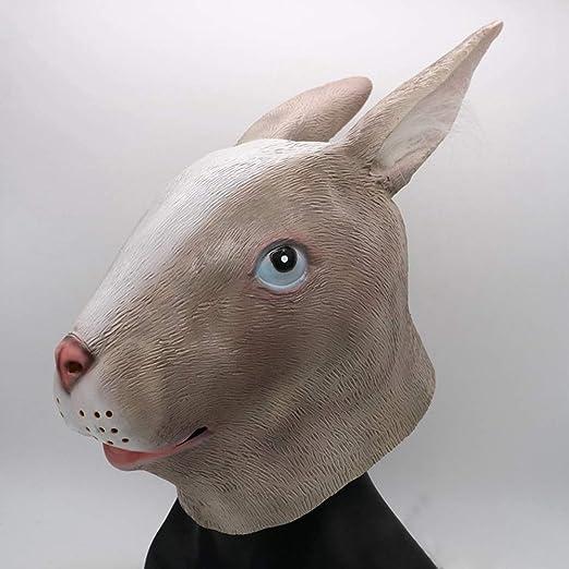 YaPin Máscaras de Conejo Gris Cabeza Oreja Larga Conejo látex ...