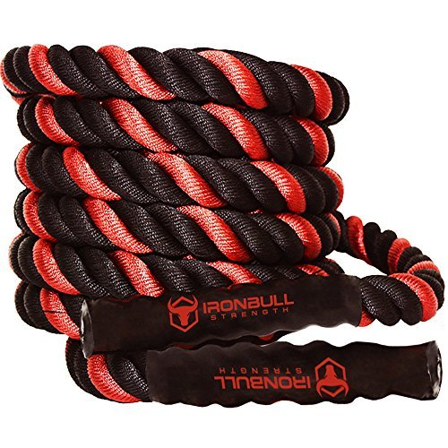 Battle Ropes with Anchor Kit and Nylon Protector Included - Fitness Undulation Rope Exercise - Cross Strength Training - Circuits Workout (1.5'' x 50 ft) by Iron Bull Strength (Image #1)