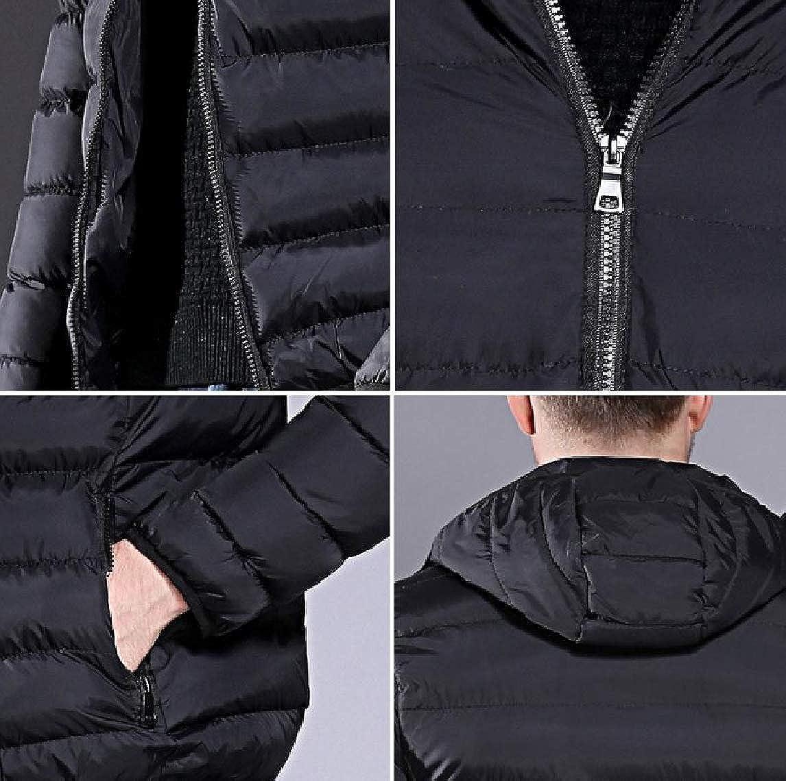 Mfasica Mens Hood Winter Warm Outwear Zip-up Waterproof Parka Jacket