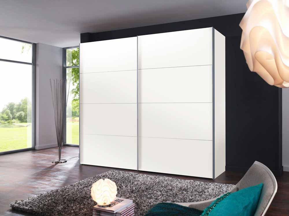 lifestyle4living 2-TRG. Schwebetürenschrank in Polar-Weiß mit 3 Kleiderstangen und 3 Einlegeböden, Maße: B/H/T ca. 250/216/68 cm