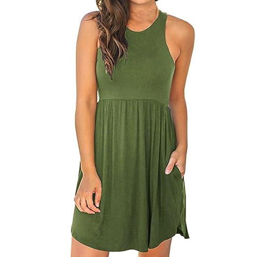 693afce881c1 Amazon.com: Summer Dress for Women's Sleeveless Casual Racerback Short Tank  Dress: Clothing