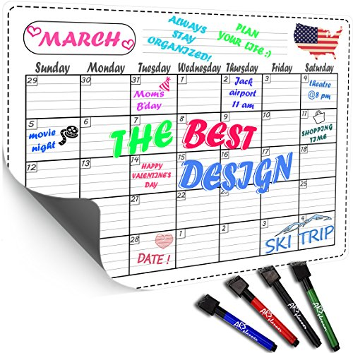 ARS planner Magnetic Refrigerator Calendar Kit - Dry Erase Calendar Board 16x12 - Daily, Weekly, Monthly Planner for Kitchen Fridge - Four free Magnet Markers with Erasers Included