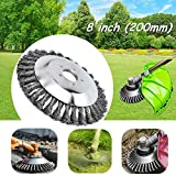 Ineedtech 8 Inch Knotted Twist Steel Wire Wheel Brush, Grass Brush Trimmer Head for Lawn Mower & Straight Shaft Gas Trimmer & Weed Brush Cutter & Rust Removal