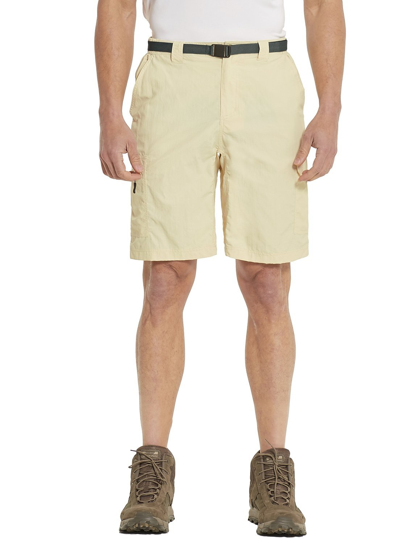Baleaf Men's Quick Dry UPF 50+ Casual Cargo Camo Shorts Light Khaki Yellow 34W