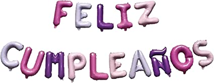 Feliz Cumpleaños 16 Inch Letter Foil Mylar Balloon Banner Kit by Zeylo Party Supply, Purple Pink