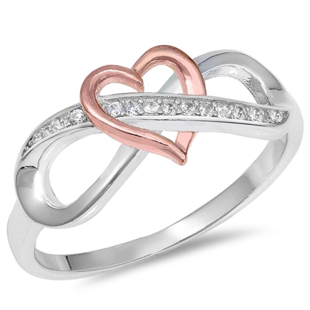 CloseoutWarehouse Clear Cubic Zirconia Intertwined Two Tone Infinity Heart Ring Sterling Silver Size 6