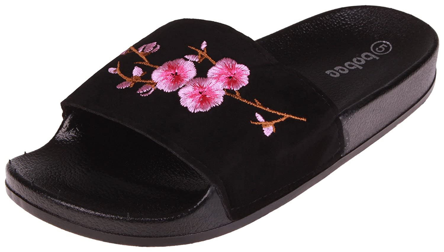 Enimay Womens Slide Sandals Slip on Outdoor Indoor Floral Slippers Black Size 10