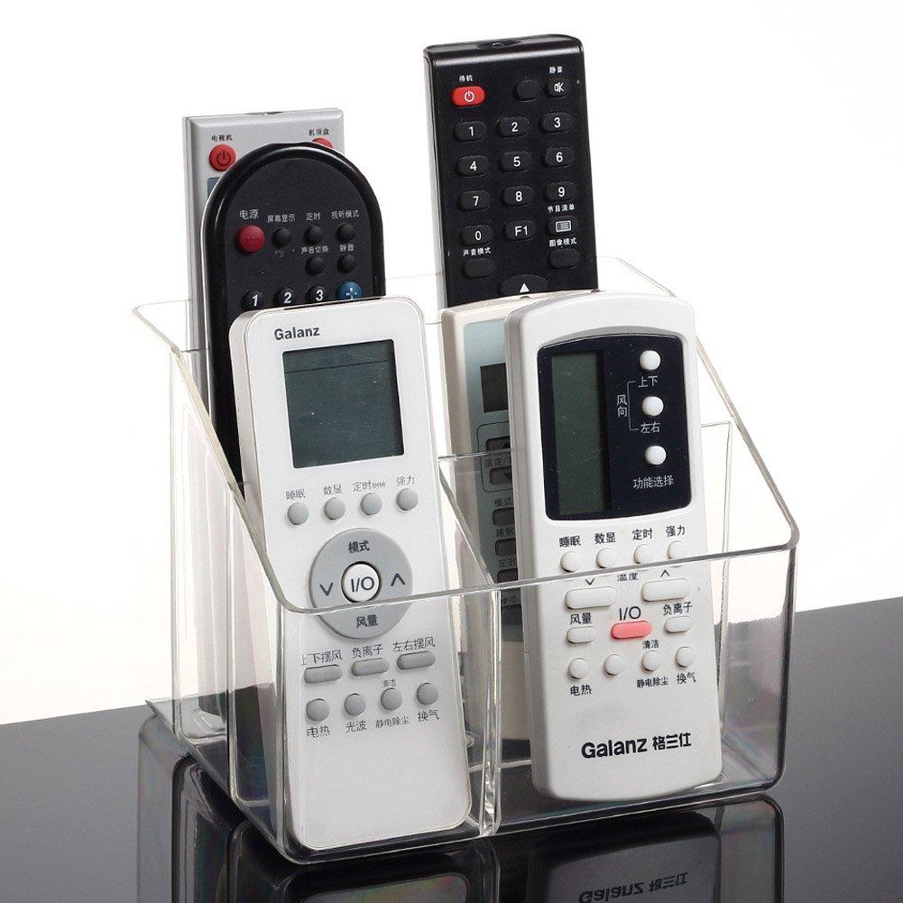 CHUANGLI Transparent Plastic Desktop Space Saving TV Remote Control Storage Organizer Collection Box