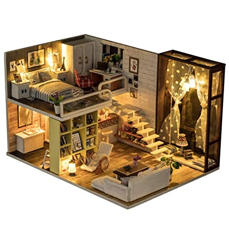 Kanqingqing DIY casa de muñecas de Madera Miniatura casa de ...