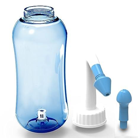 ONCCI Lavado Nasal Irrigación Nasal 500ml con dos boquillas para niños Adultos Alivio Natural para el resfriado y síntomas de alergia