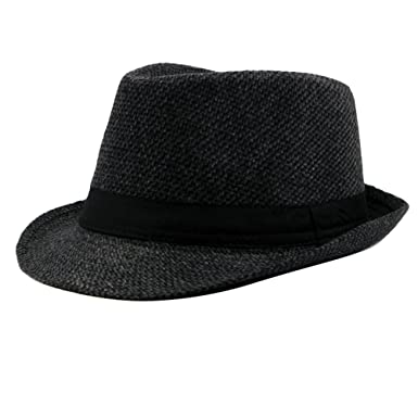be608b94f02 Zhhlinyuan Mens Warm Winter Quality Tweed Fedora Trilby Hat Jazz Hat with  Black Band Multicolor  Amazon.co.uk  Clothing