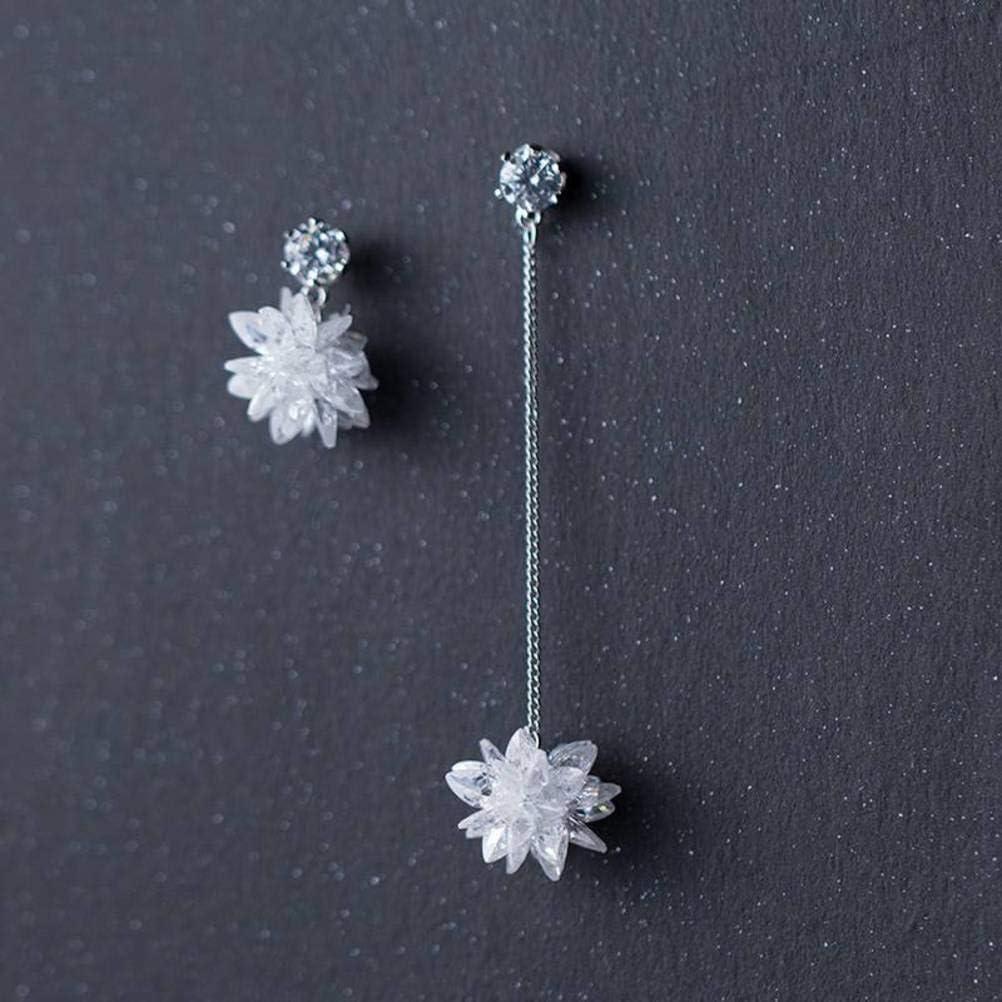 S&RL S925 Pendientes de Flores de Diamantes de Plata Pendientes de Flores de Hielo Asimétrico Coreano para Mujer Joyería de Oreja Dulce Joyería Femeninaun par, Plata 925