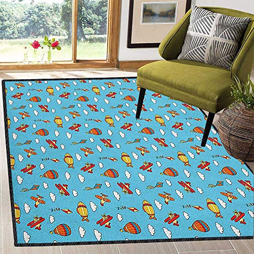 Airplane Home Decor Mats,Colorful Air Transportation Collection with Balloons Biplanes Zeppelins and Kites Chic Pattern Anti-Static Multicolor 59
