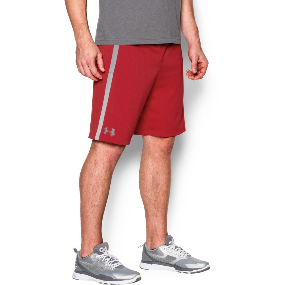 Under Armour Men's UA Tech Mesh Shorts, Red (600)/Steel, Small