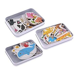 Non brand Sharplace 3 Set di Animali ~ Puzzle per Bambini Piccoli Puzzle di Legno per Bambini - Frutta, Verdura