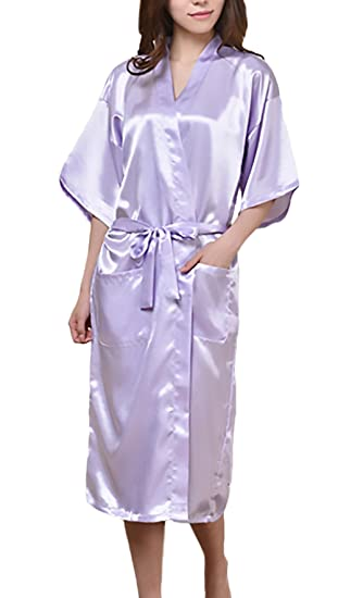 Anaisy Kimono Mujer Bata Largo Verano Elegante Cómodos Suave Color Sólido V Cuello Joven Bastante con Bolsillos Albornoz Camisones Pijama con Cinturón ...