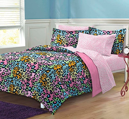 Cheetah Print Comforter - My Room Neon Leopard Ultra Soft Microfiber Girls Comforter Set, Multi-Colored, Twin/Twin X-Large