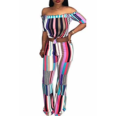 Adogirl Women Stripe Bodycon 2 Piece Outfits Wide Leg Jumpsuit Crop Top and Pant: Clothing