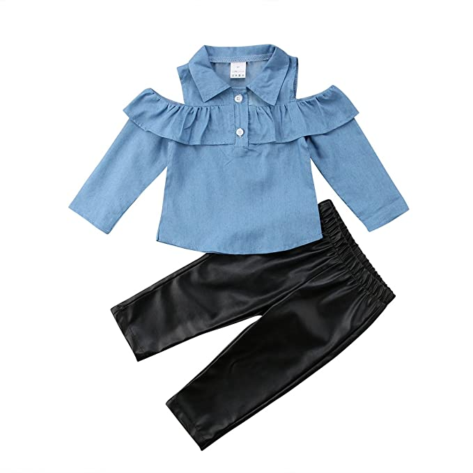 af8b703c40ce1 Toddler Baby Girl Outfit Ruffle Tops Faux Leather Leggings Pants Clothes  Set (Blue+Black