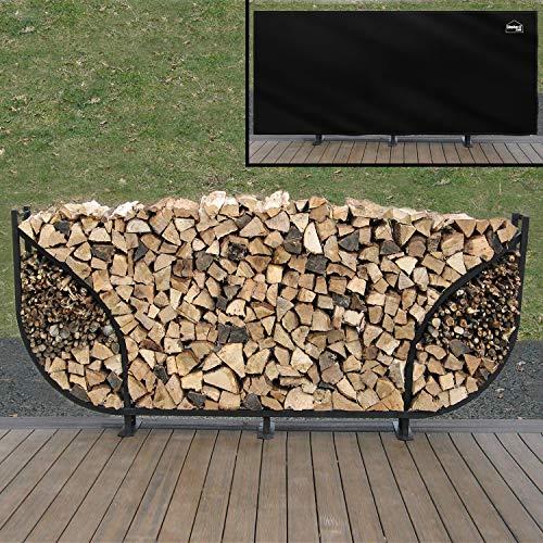 - Shelter It 24104 Curved Double Leaf Kindling Kit and Waterproof Full Cover Log Rack, 8', Black