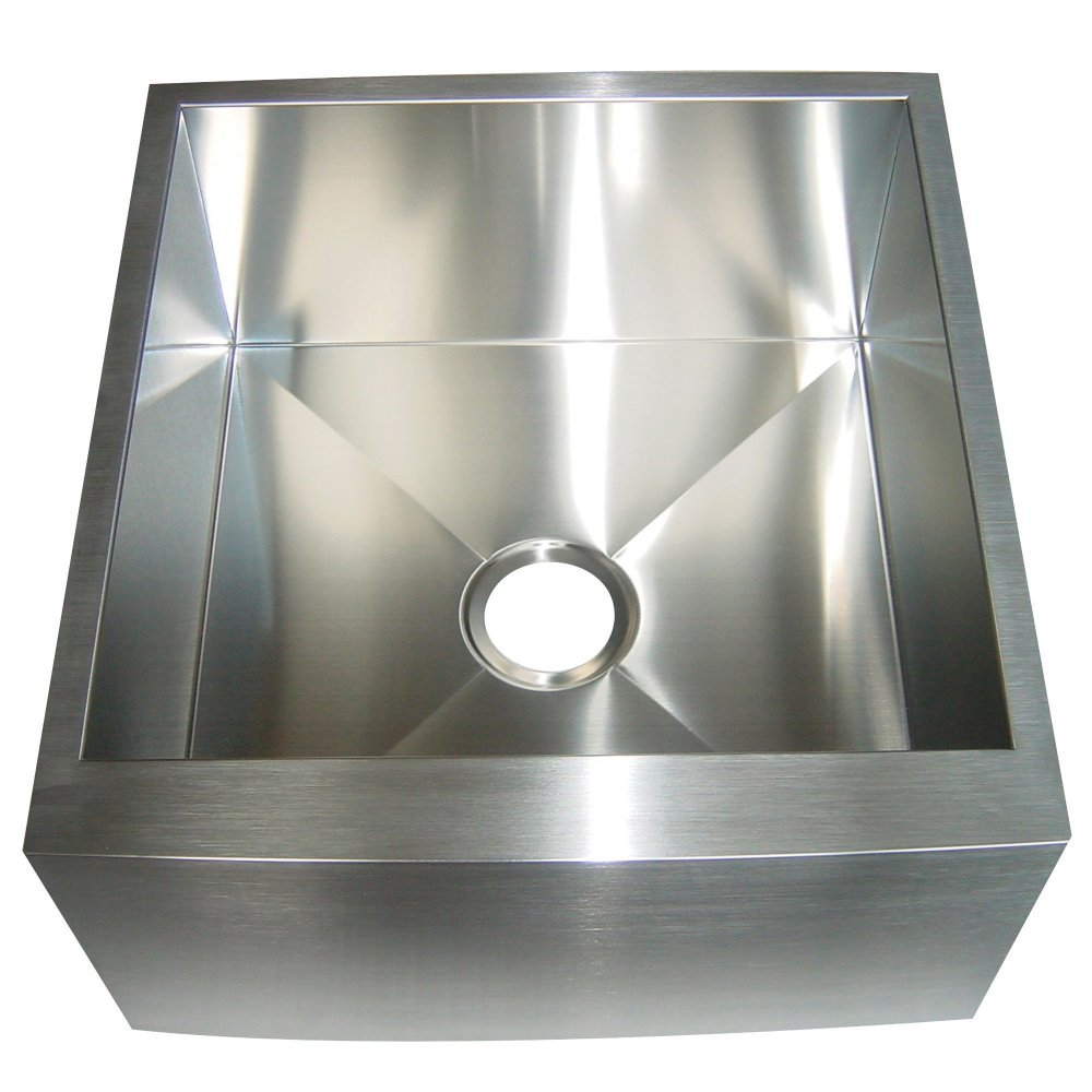 kingston brass gourmetier kuf212110bn denver stainless steel single bowl farm house kitchen sink brushed stainless steel amazoncom - Stainless Steel Farm Sink