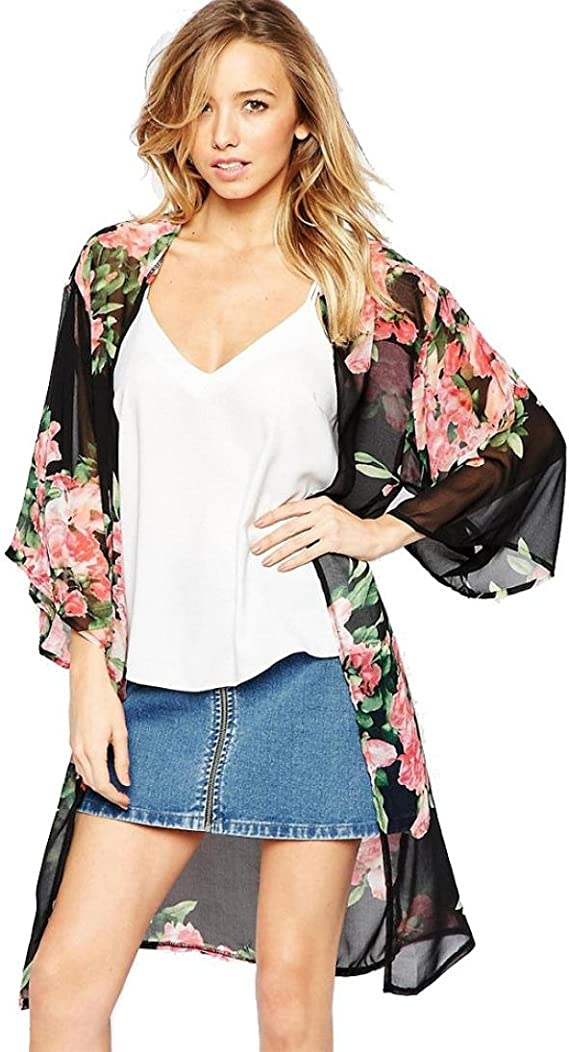 Womens Summer Beach Loose Shawl Kimono Cardigan Boho Chiffon Tops Jacket Blouse