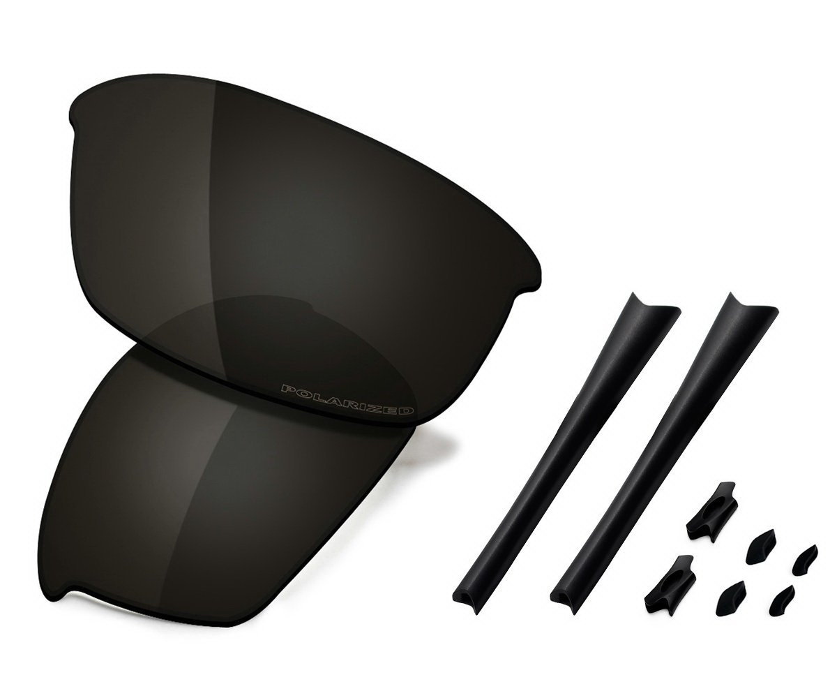 Saucer Premium Replacement Lenses & Rubber Kits for Oakley Flak Jacket Sunglasses High Defense - Carbon Black Polarized