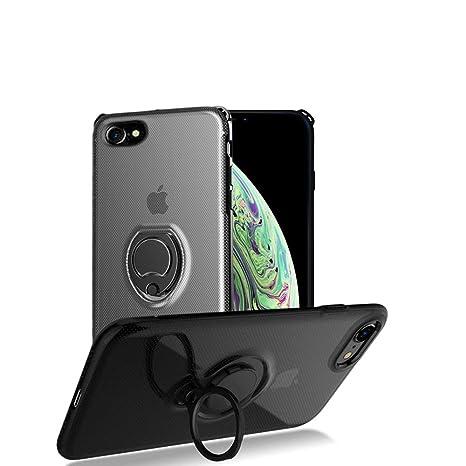Funda iPhone 7/8 magnética dura PC Carcasa para Soporte teléfono automóvil con invisible 360 anillo giratorio,Cubierta anti-arañazos anti-rasguños a ...