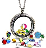 Teacher Gifts for Women Floating Locket Necklace Full of Teacher Charms, Teacher Appreciation Gifts