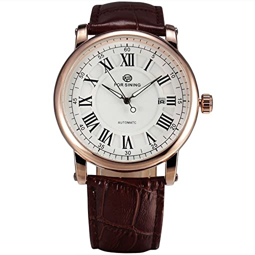 FORSINING Men Automatic Watches Classic Auto Date Gold Case Mechanical Balck Leather Male Dress Wristwatch