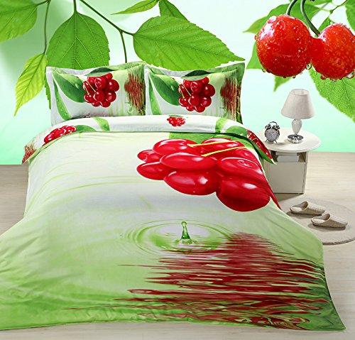 Suncloris,4pcs Queen Size Duvet Cover Set, 3d Fresh Bunch Cherry Bedding Set Comforters Duvet Cover Quilt Bed Linen Sheet Bedspread