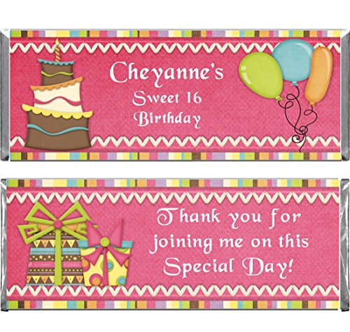 Personalized Custom Pink Birthday Party Wrappers and Foils