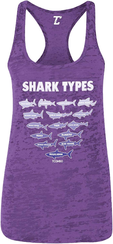 Shark Types - Great White Hammerhead Nautical Women's Racerback Tank Top