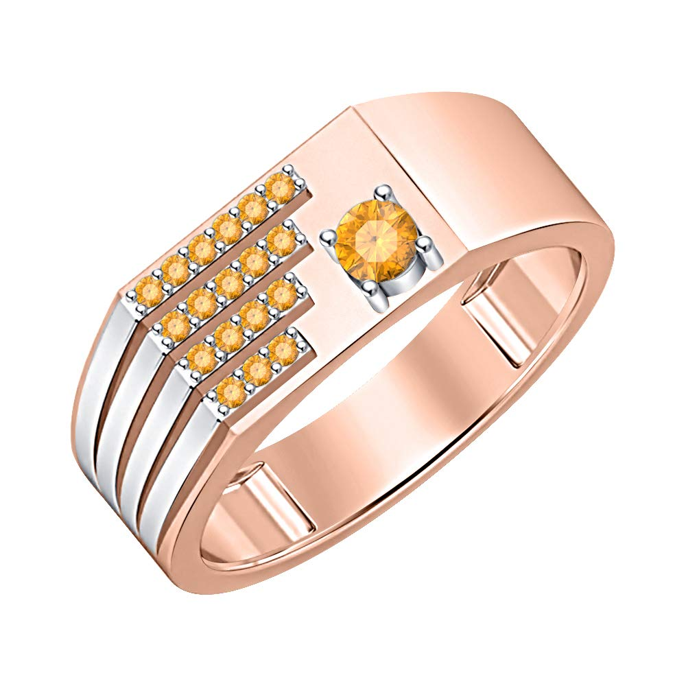 Gold /& Diamonds Jewellery 0.90 Ctw Round Cut Gemstone 14k Two Tone Over Sterling Silver Club Mens Ring
