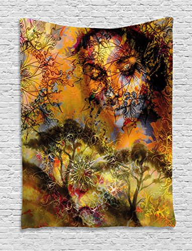 Ambesonne Modern Tapestry, Floral Mandala Mysterious Woman Face and Forest Image Psychedelic Contemporary Art, Wall Hanging for Bedroom Living Room Dorm, 40 W X 60 L inches, ()